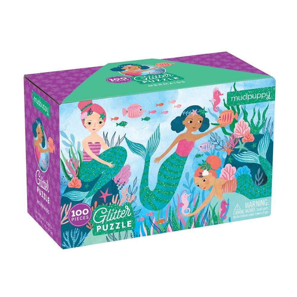 Mudpuppy Glitter Puzzle: Mermaids (100 Pieces)