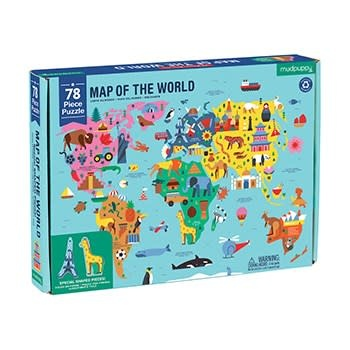 Mudpuppy Map of the World Geography Puzzle (78-piece Jigsaw)