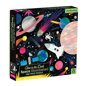 Mudpuppy Illuminated: Space (500 Piece Glow-in-the-Dark Family Puzzle)