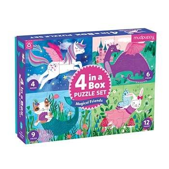 Mudpuppy Magical Friends 4 in a Box Puzzle Set