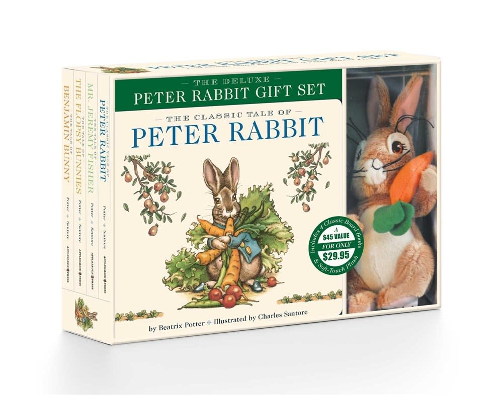 Applesauce Press Peter Rabbit Deluxe Gift Set (4 Books & Plush Bunny)
