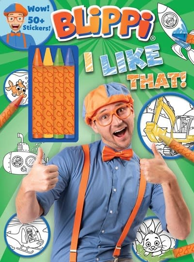 Printers Row Blippi: I Like That!  Coloring Book with Crayons