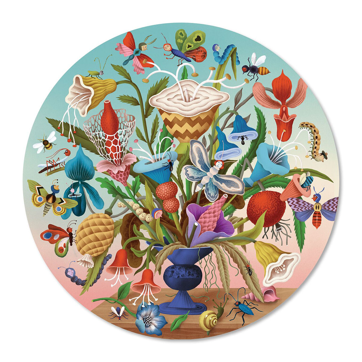Crazy Bug Bouquet Puzzle (500 Piece Round Jigsaw)