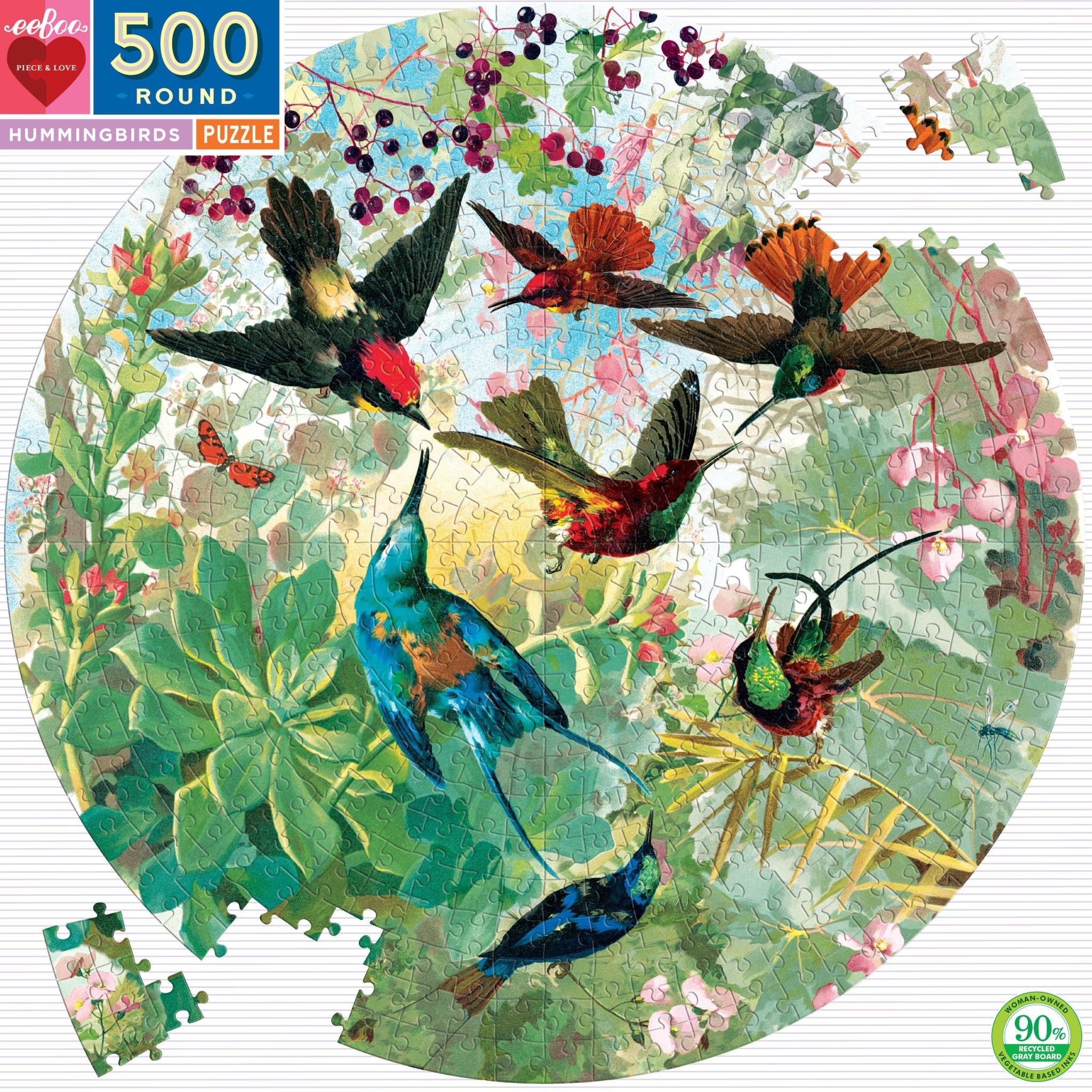Hummingbirds Puzzle (500 Piece Round Puzzle)