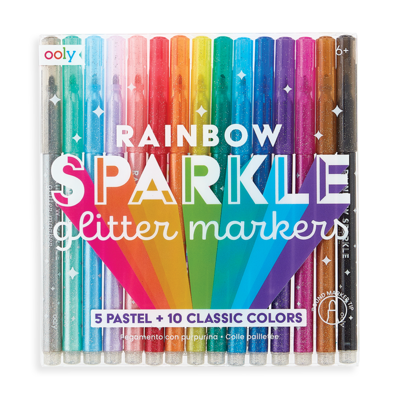 Ooly Rainbow Sparkle Glitter Markers (Set of 15)