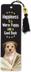 Happiness I a Warm Puppy and a Good Book (Beaded Bookmark)