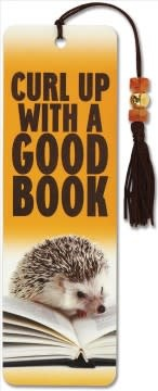 Hedgehog, Curl Up with a Good Book (Beaded Bookmark)