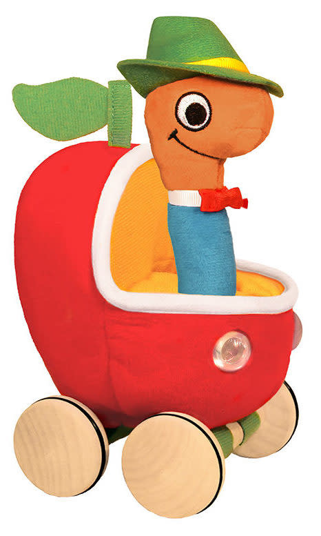 Lowly Worm Soft Toy with Applecar