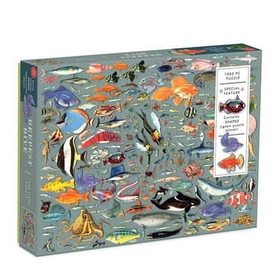 Galison Deepest Dive 1000 Piece Puzzle with Shaped Pieces
