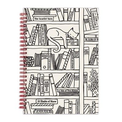 """Galison Cat on Bookshelf 6 x 8"""" Wire-O Journal"""