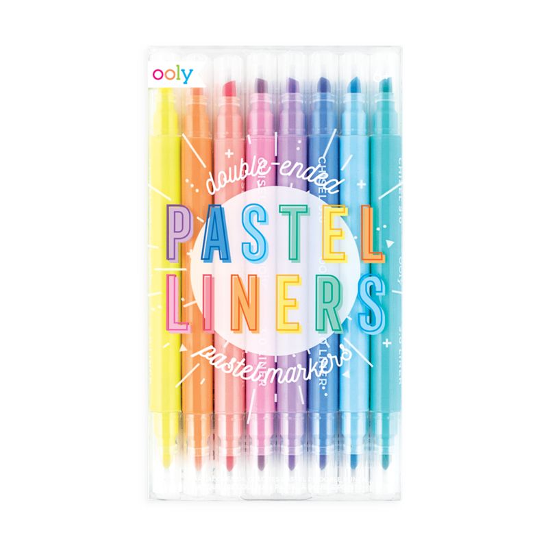 Ooly Pastel Liners Double-Ended Markers (Set of 8)