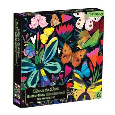 Mudpuppy Butterflies Illuminated 500 Piece Glow in the Dark Family Puzzle