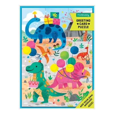 Mudpuppy Dino Party Greeting Card Puzzle