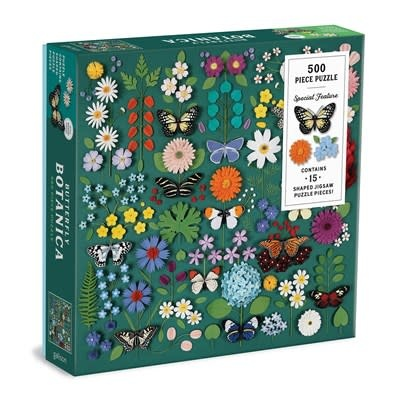 Galison Butterfly Botanica 500 Piece Puzzle with Shaped Pieces