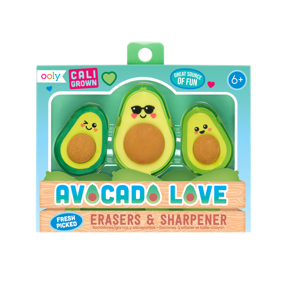 Ooly Avocado Love Erasers and Sharpener