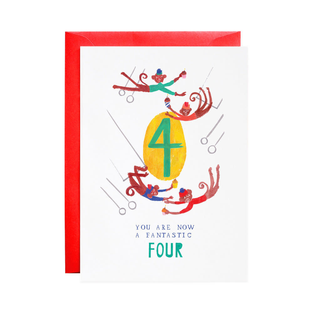 Four Mischievous Monkeys (Birthday Card)