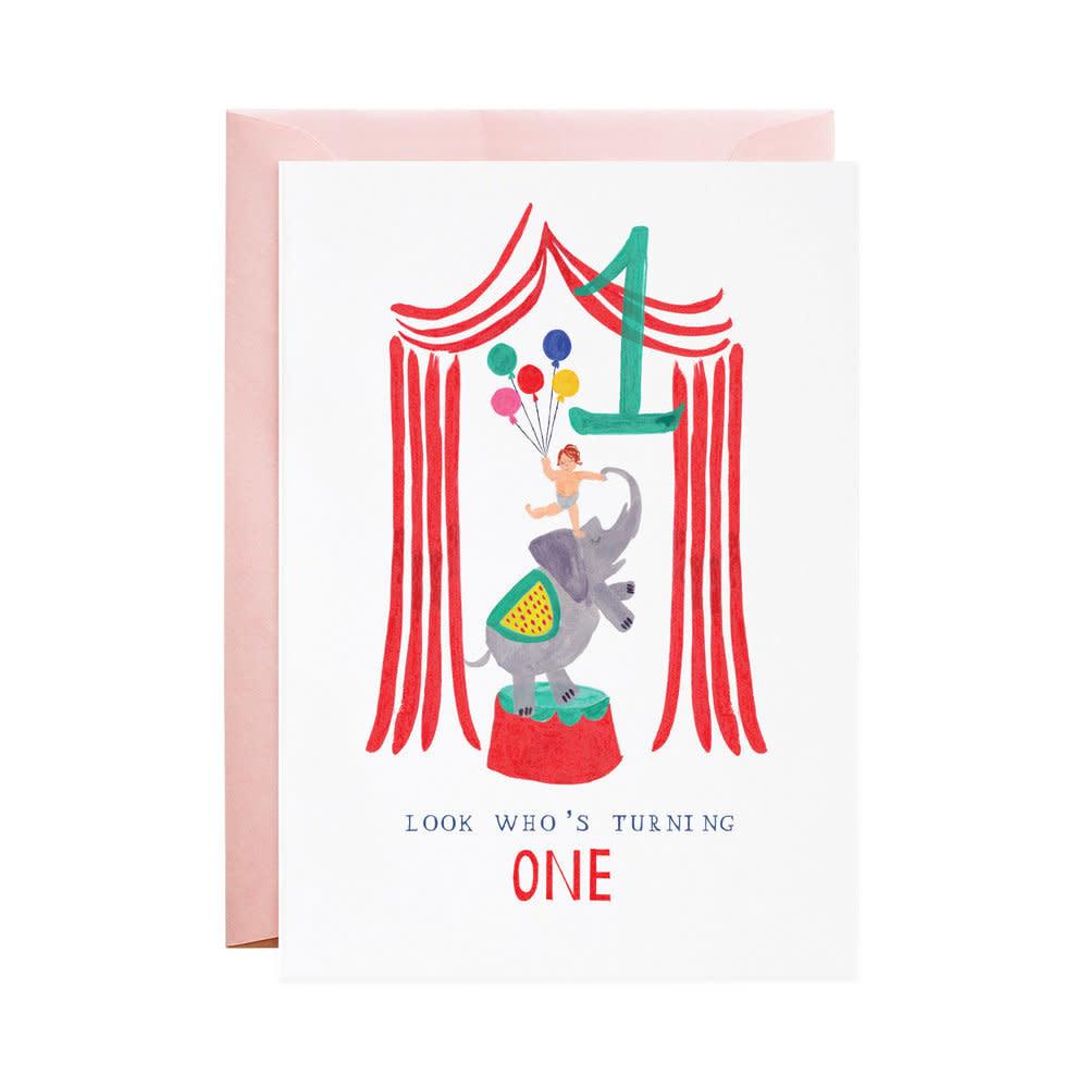 One Ellie Elephant (Birthday Card)