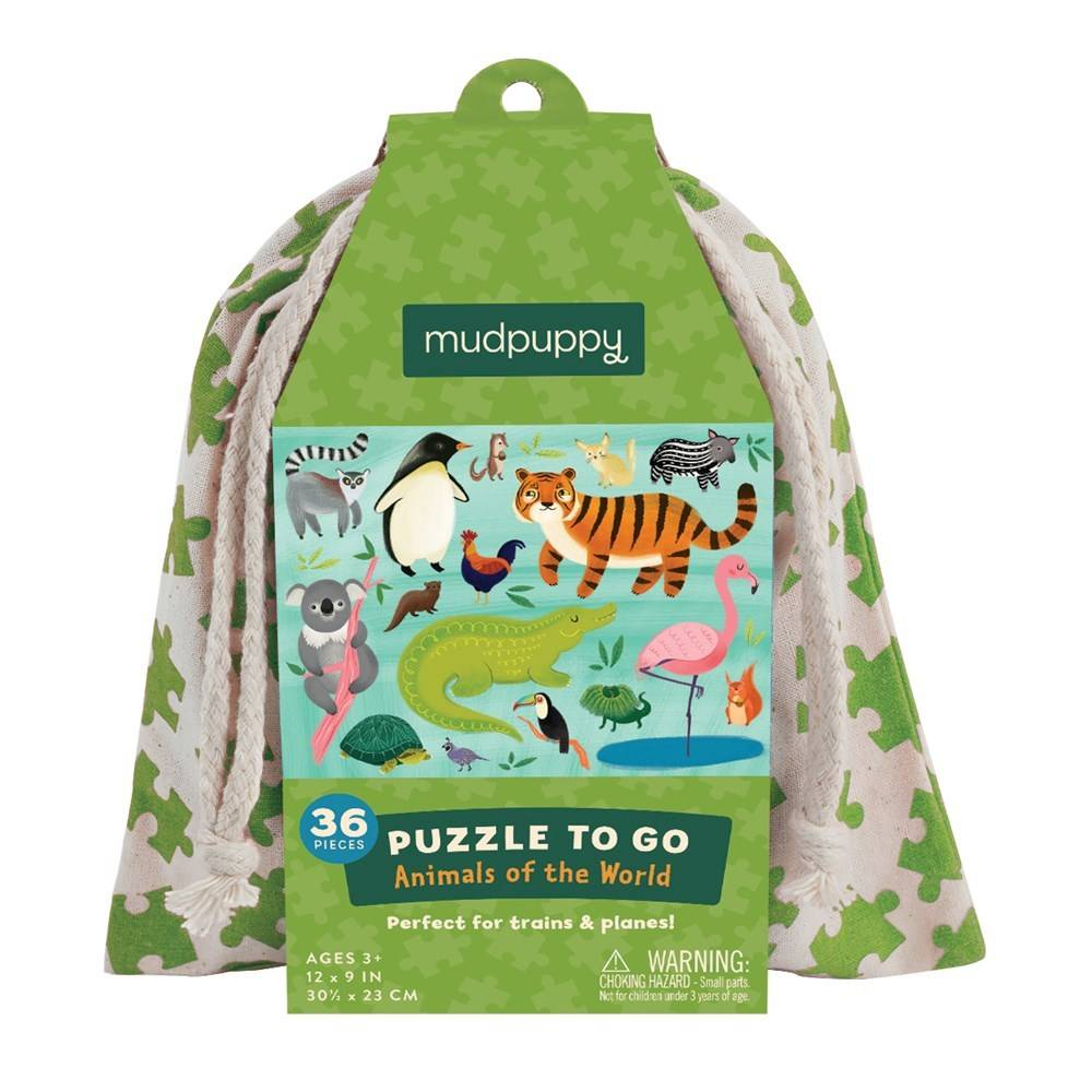 Mudpuppy Mudpuppy Puzzle to Go: Animals of the World (36 Piece Puzzle)