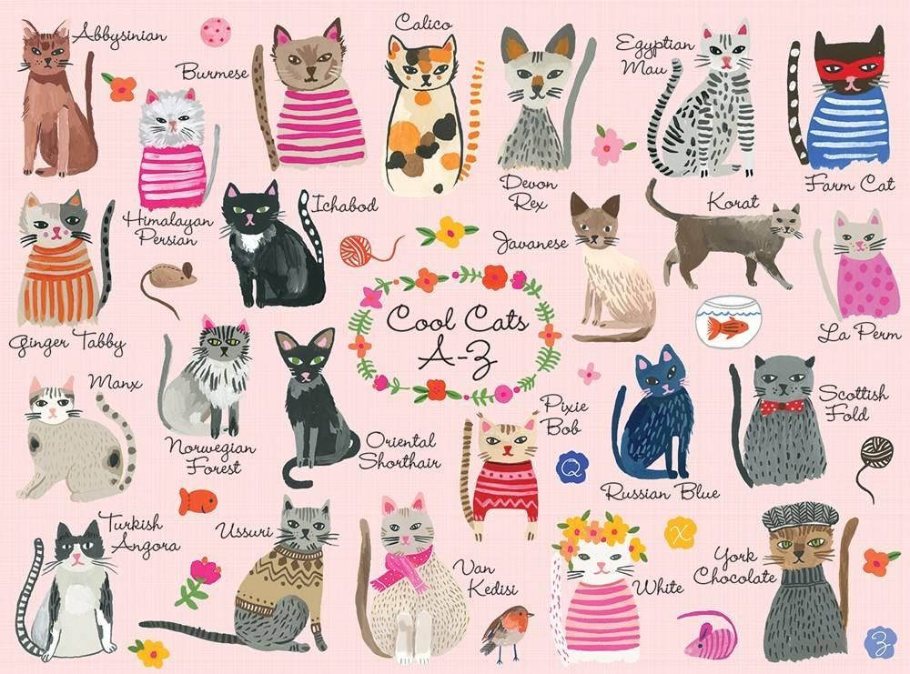 Mudpuppy Cool Cats A-Z Puzzle (1000-Piece Jigsaw)