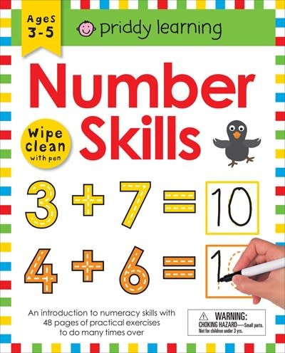 Priddy Books Wipe Clean Workbook: Number Skills (enclosed spiral binding)