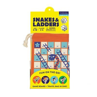 Mudpuppy Snakes and Ladders! Travel Game
