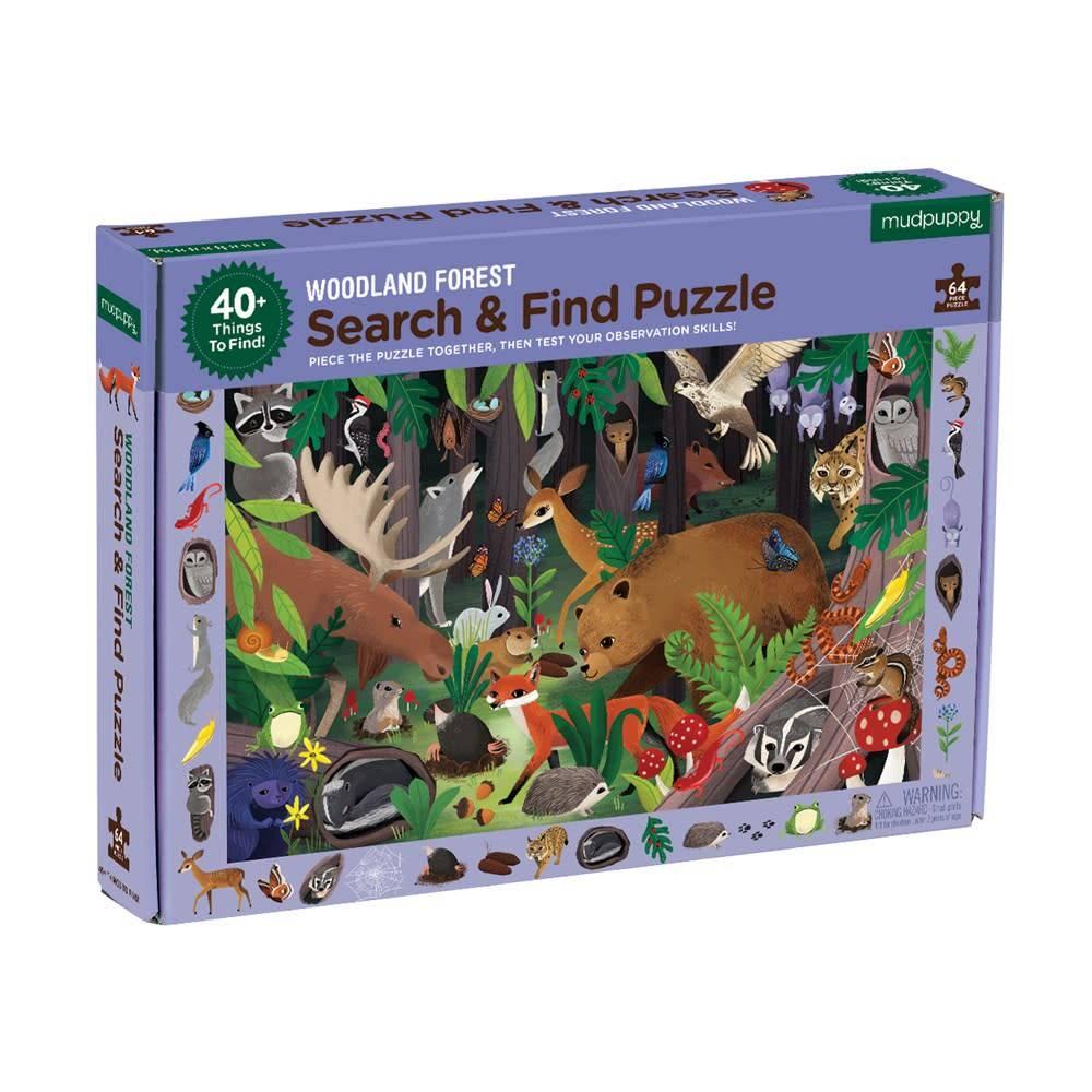 Mudpuppy Search & Find Puzzle: Woodland Forest (64-Piece Jigsaw)