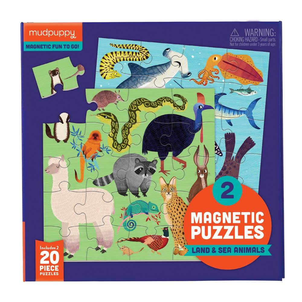 Mudpuppy Magnetic Puzzle: Land & Sea Animals (20-Pieces)