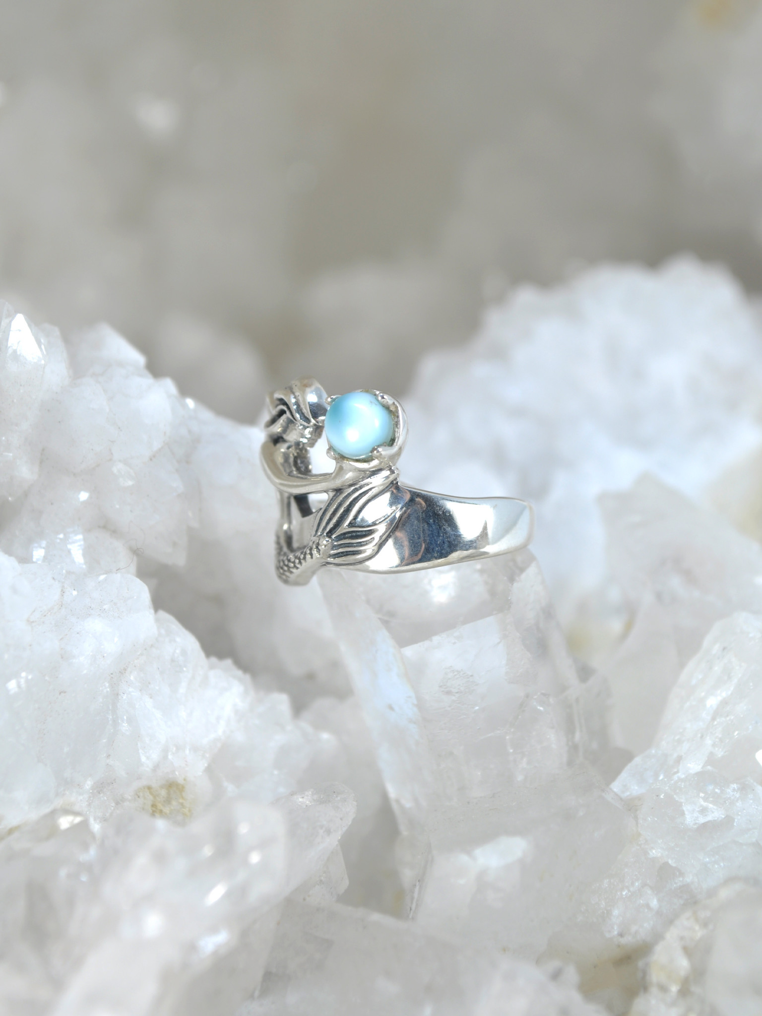 Mermaid With Larimar and Pearl Ring  925 Sterling Silver  Larimar Mermaid Ring  Sea Life Jewelry  Size 7