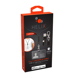 Helix Helix Lanyard Lightning Cable 3FT - Black