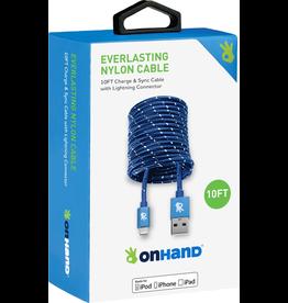 OnHand OnHand 10 ft Everlasting Nylon lightning Cable - Blue