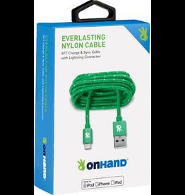 OnHand OnHand 5 ft Everlasting Nylon lightning cable - Green