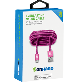 OnHand OnHand 5 ft Everlasting Nylon lightning cable - Pink