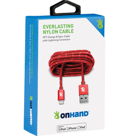 OnHand OnHand 5 ft Everlasting Nylon lightning cable - Red