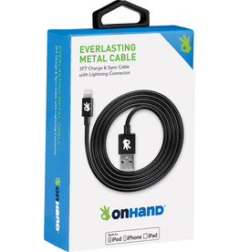 OnHand OnHand 3ft Metal Sync & Charge Cable - Lightning- Black