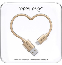 HappyPlugs Happy Plugs Micro-USB Charge Cable 2M - Champagne