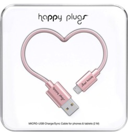 HappyPlugs Happy Plugs Micro-USB Charge Cable 2M - Pink Gold