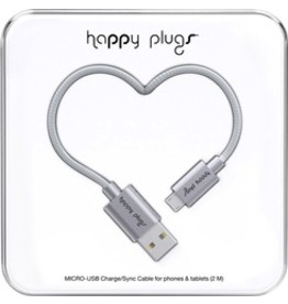 HappyPlugs Happy Plugs Micro-USB Charge Cable 2M - Space Gray