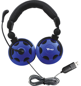 HamiltonBuhl HamiltonBuhl T-PRO USB Over-Ear Headset With Noise-Cancelling Mic - Black-Blue
