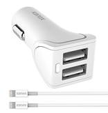 Kanex Fast Car Charger [2xUSB-A] & 2x Lightning Cables