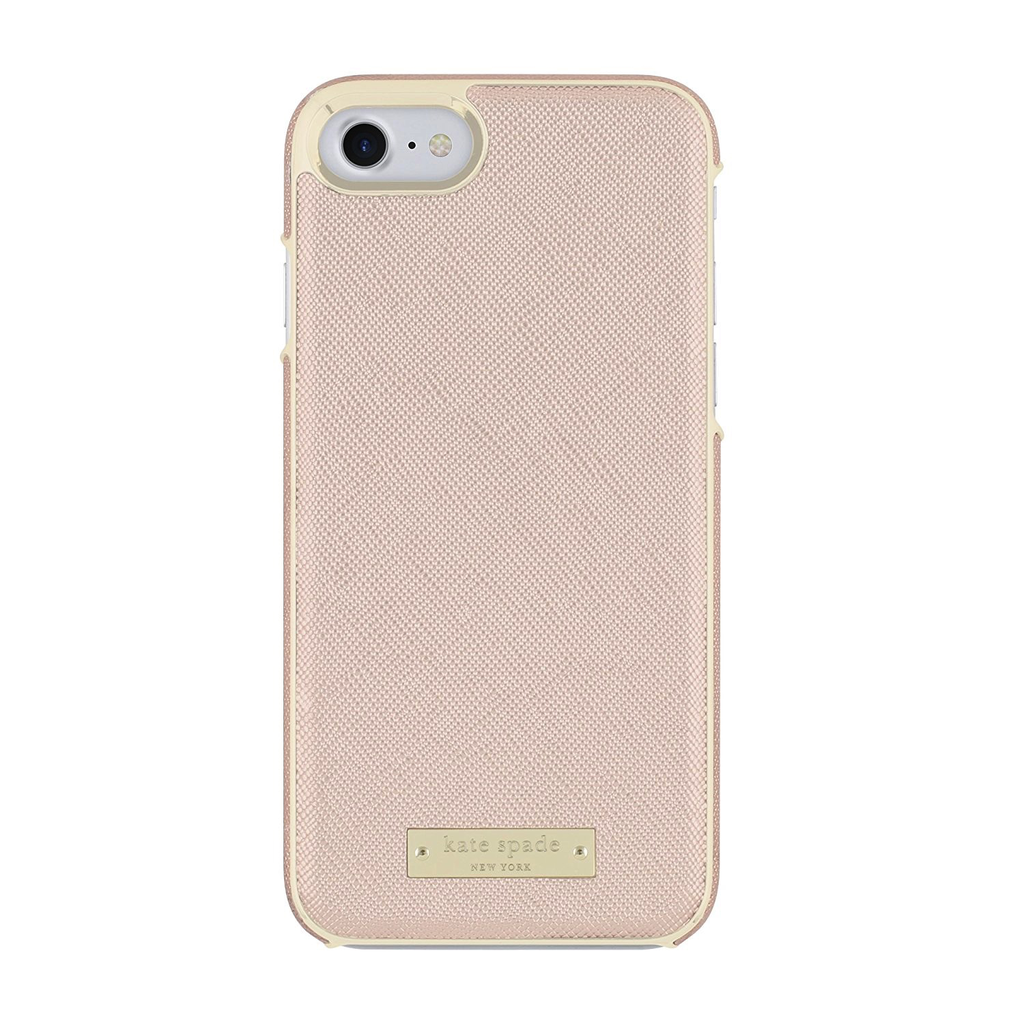 Kate Spade New York Kate Spade Wrap Case for iPhone 7 - Saffiano Rose Gold/Gold Logo Plate