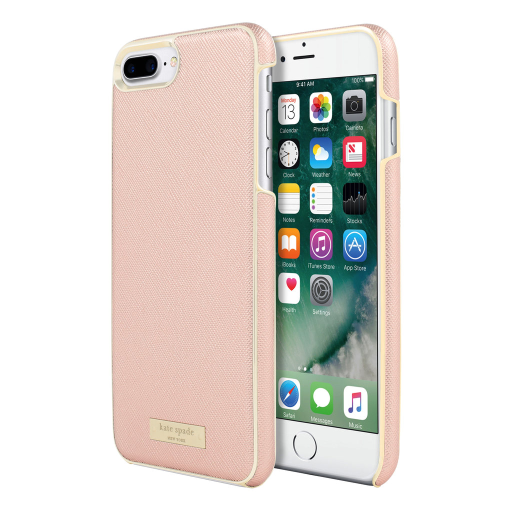 Kate Spade New York Kate Spade Wrap Case for iPhone 7 Plus - Saffiano Rose Gold/Gold Logo Plate