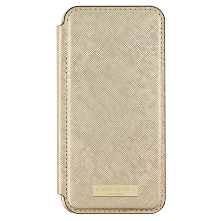 Kate Spade New York Kate Spade Folio Case for iPhone 7 - Saffiano Gold/Gold