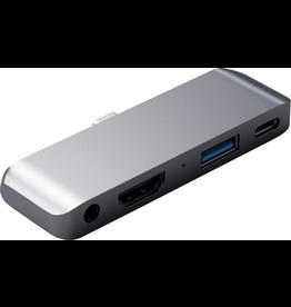 Skullcandy Satechi Mobile Travel Pro USB-C Hub [Aux, HDMI, USB-A, USB-C] - Space Gray