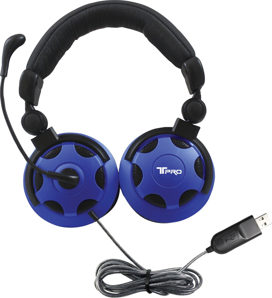 HamiltonBuhl HamiltonBuhl T-PRO USB-A Over-Ear NC Headset - Black-Blue