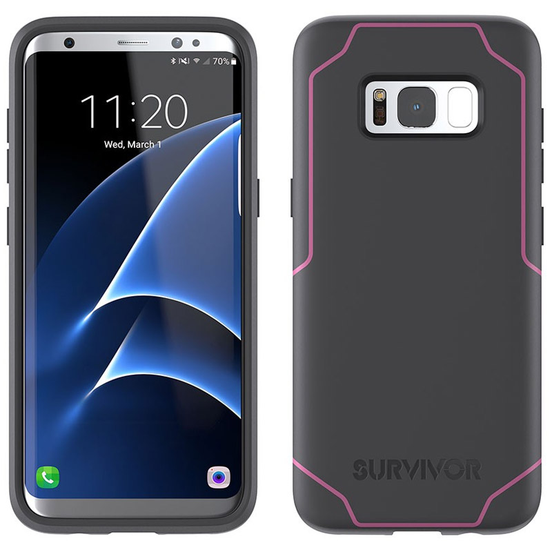 Griffin Survivor Strong Case for Samsung Galaxy S8 - Gray/Pink
