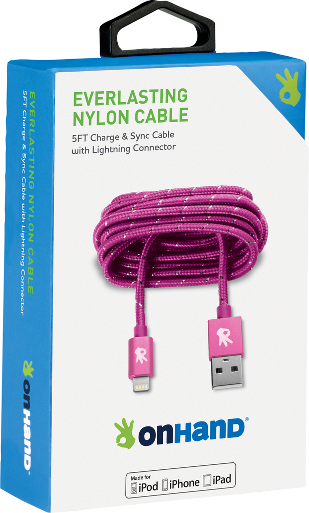OnHand OnHand Everlasting Nylon lightning cable 5ft - Pink