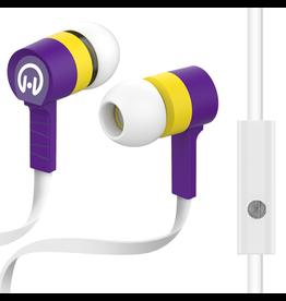 HyperGear HyperGear Low Ryder Earphones w/ Mic - White / Purple / Yellow