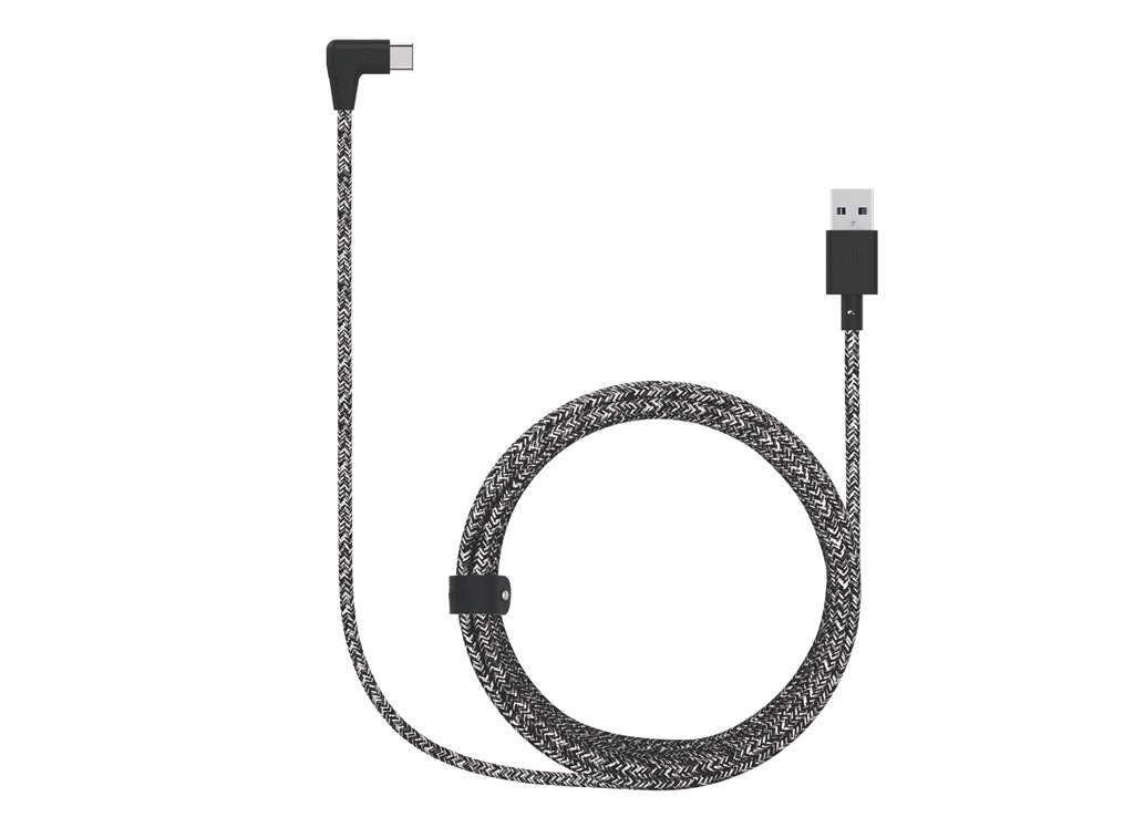 Candywirez Candywirez 6FT Snake Braid L USB-C w/ Strap - Black/Grey