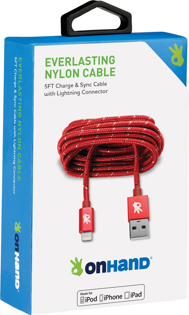 OnHand OnHand Everlasting Nylon lightning cable 5ft - Red