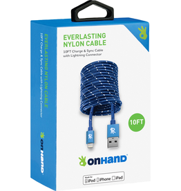 OnHand OnHand 10 ft Everlasting Nylon lightning Cable - Blue
